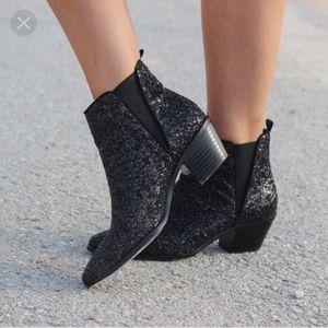 Zara collection black glitter booties